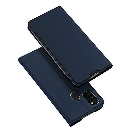 DUX DUCIS Hülle für Samsung Galaxy M21, Samsung Galaxy M30S Hülle, Leder Klappbar Handyhülle Schutzhülle Tasche Hülle mit [Kartenfach] [Standfunktion] [Magnetisch] (Blau)