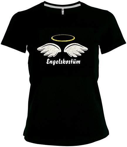BlingelingShirts Elegantes Glitzer Shirt Damen Karneval Engel Engelskostüm, schwarz, Gr. 52/54