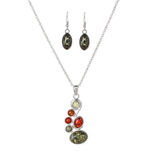 YAZILIND Cadena Colorida Conjunto de joyería de imitación ámbar Elegante Pendientes del Collar Irregular