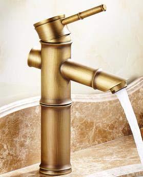 BDWS Grifo para lavabo, grifo de bambú de latón antiguo con acabado en cobre, grifo para lavaboEstilo B