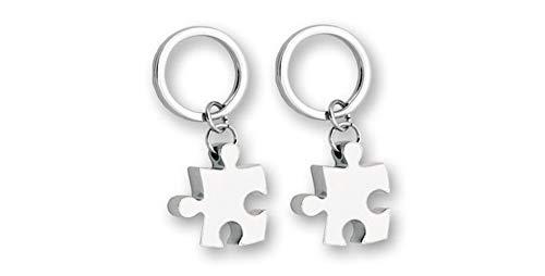 Llavero Doble Metal diseño Puzzle. Blanco/Blanco. 2 Unidades.