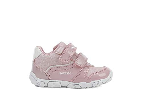 Geox Kinder Sneaker B BALU G Mädchen Kleinkinder Klettschuhe mit Glitzer und Lack Pink (Pink/White) Größe 25 EU