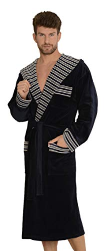 FOREX Lingerie kuscheliger und hochwertiger Herren Velours-Bademantel mit modischen Streifen, Taschen & Bindegürtel, Made in EU, Marine mit Kapuze, Gr. XL