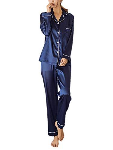 ORANDESIGNE Femmes Ensemble Pyjama en Satin Manche Longue Vêtements de Nuit 2 Pièces Col-V Top Bouton et Pantalon Printemps Automne A Bleu FR 38