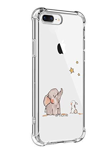 Funda Compatible para iPhone 7 Plus,iPhone 8 Plus Ultra Delgada Ligera Transparente Silicona TPU Gel Suave Carcasa Elegante Patrón Lindo Bumper Anti-Rasguño Protector Caso Case (Estrella de elefante)