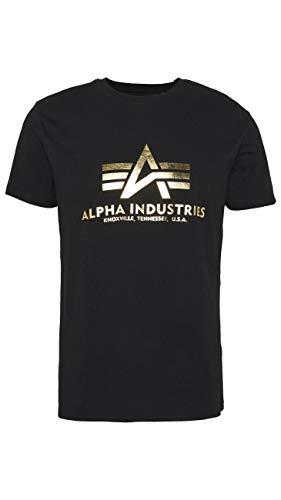 Alpha Industries Basic Foil Print T-Shirt Schwarz/Gold M