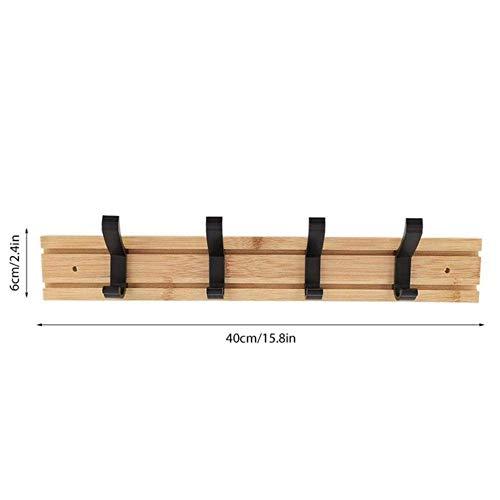 Handig Bamboo haak Bamboo wandkapstokken Hanger handdoek Doek Plank Met Hanger Home Storage Slaapkamermeubels, M (Color : As Picture, Size : Medium)