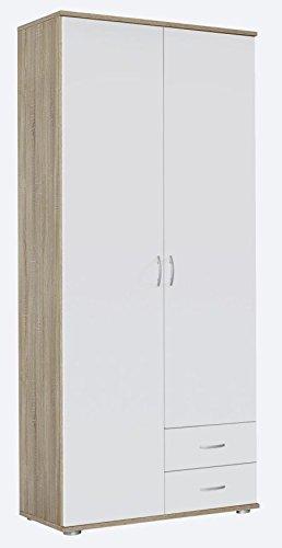 Kleiderschrank weiß / braun 2 Türen B 85 cm / H 188 cm Schrank Drehtürenschrank Wäscheschrank Kinderzimmer Jugendzimmer Schlafzimmer