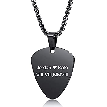 MeMeDIY Personalized Guitar Pick Necklace Customize Chains for Men Women Boys Girls Engraving Rock Pendant Gifts for Music Lovers Stainless Steel Cool Jewelry  Black Color