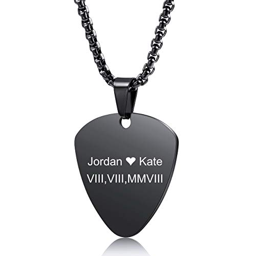 MeMeDIY Personalized Guitar Pick Necklace Customize Chains for Men Women Boys Girls Engraving Rock Pendant Gifts for Music Lovers Stainless Steel Cool Jewelry (Black Color)