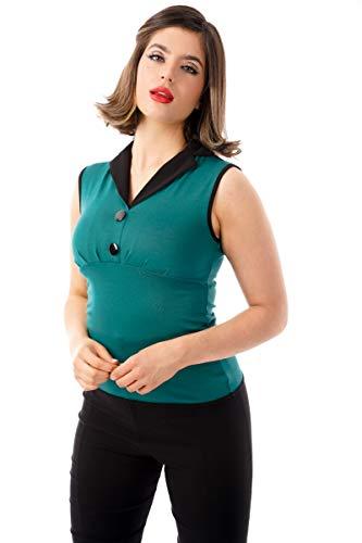 Ro Rox Emma Top Camisa Retro Rockabilly Pin Up 1950 Vintage Pinup - Verde (L)