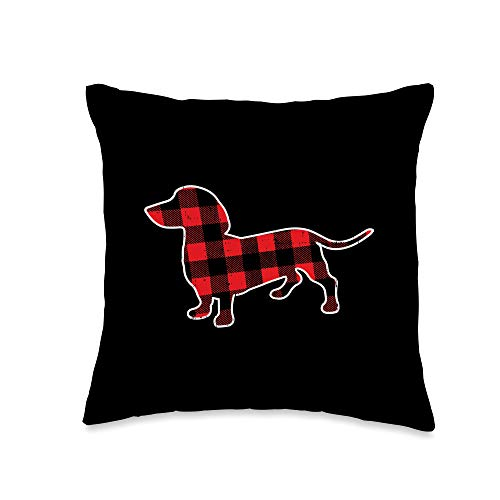 BoredKoalas Christmas Pillows Holiday Xmas Gifts Red Bufallo Plaid Dachshund Dog Xmas Holiday Wiener Gift Throw Pillow, 16x16, Multicolor
