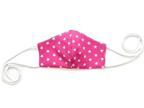 2-lagige Mund Nasen Maske Kinder Erwachsene · Baumwolle · waschbar wiederverwendbar · Sterne pink Gr. 0