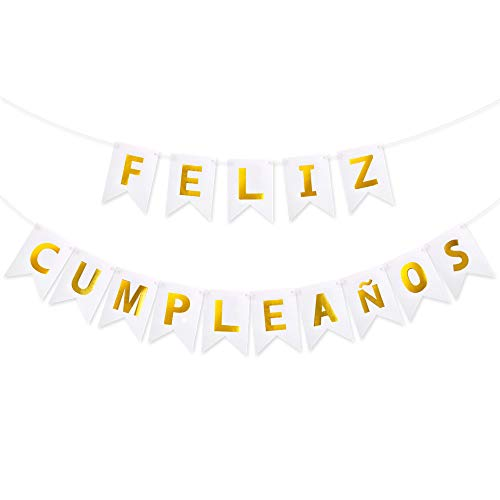 VINFUTUR 1 Juego de Banner Feliz Cumpleaños Español Pancartas Cumpleaños Bandera de Papel Guirnalda Colgar para Decoración Fiesta Reunión Banquete