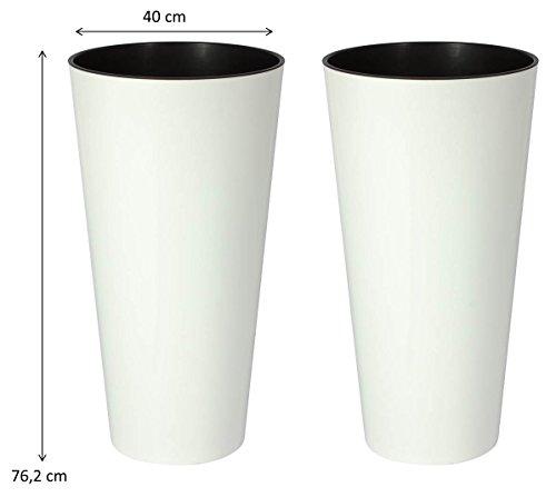 2 Stück XXL Pflanztöpfe Tubus Tower in mattem Alpinweiß mit herausnehmbaren Einsatz. Maße BxH in cm: 76,2 x 40 cm. Robust und von Zeitloser Eleganz! Topp