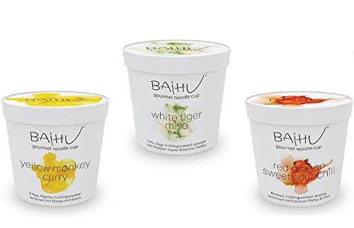 BAIHU Instant Nudeln   vegetarisch   vegan   schnelle Zubereitung (Baihu Mix Box / 1 Cup pro Sorte, 3 Stück)