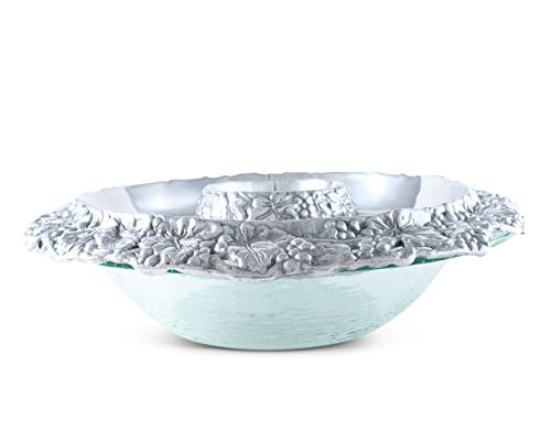 Arthur Court Designs Aluminum Grape Tray with Glass Chilling Bowl Keeps Fruit, Veggies, Cheese, Meat, or Any Chilled appetizers at The Perfect Temperature 14 Diameter x 4.5 inch Tall