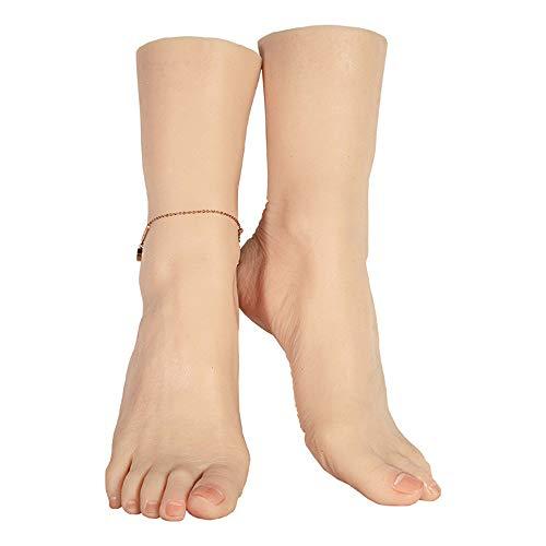 WRQ 1 Paar Realistisch Frau Silikon Fälschung Füße Modell Fuß Fetisch Spielzeug Mannequin Fuß Für Die Socke Schuhe Anzeige Größe EU 38