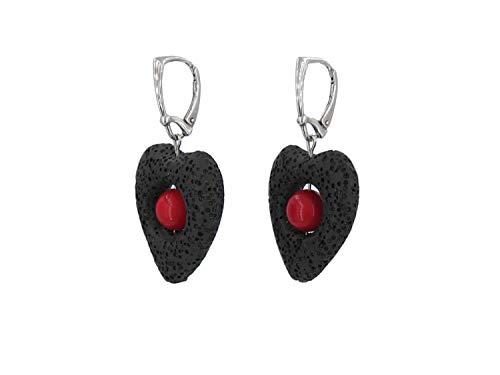 Lava rock & coral bead dangle sterling silver leverback earrings