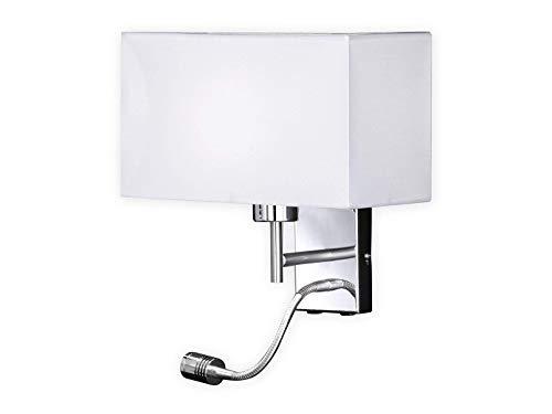 Honsel Applique murale LED avec lampe de lecture et abat-jour en tissu blanc – Lampe de lecture avec bras mobile flexible orientable