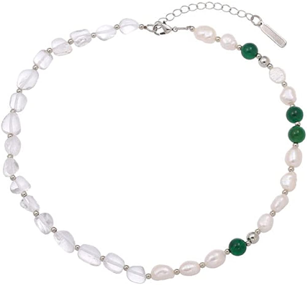 European and American ins natural pearl stitching necklace green