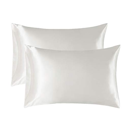 Bedsure Satin Pillowcase for Hair and Skin, 2-Pack - Queen Size (20x30 inches) Pillow Cases - Satin Pillow Covers with Envelope Closure, Ivory