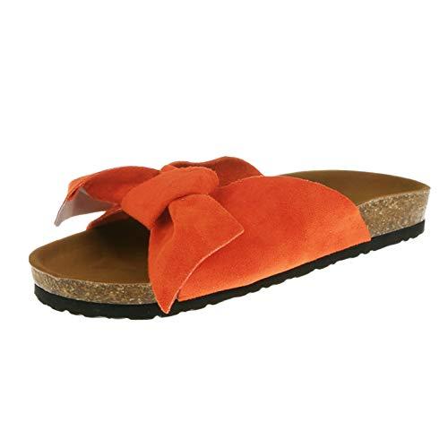 Sandalen Slipper Frauen Mode Fliege Flache Dicke Bottom Heel Beach Schuhe (38,2orange)