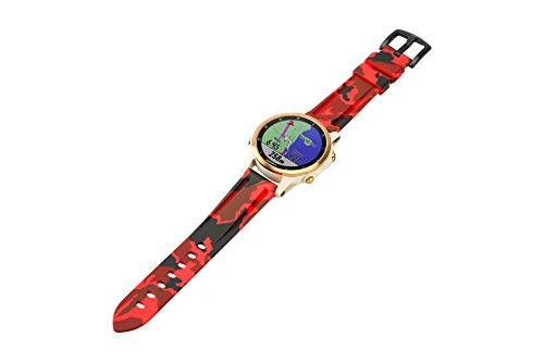 ESTUYOYA - Silicone Bracelet Compatible with Garmin Fenix 6/6 Pro / 5/5 Plus/Forerunner 935/Approach S60/Instinct Army Camouflage Colours, 22 mm - Red