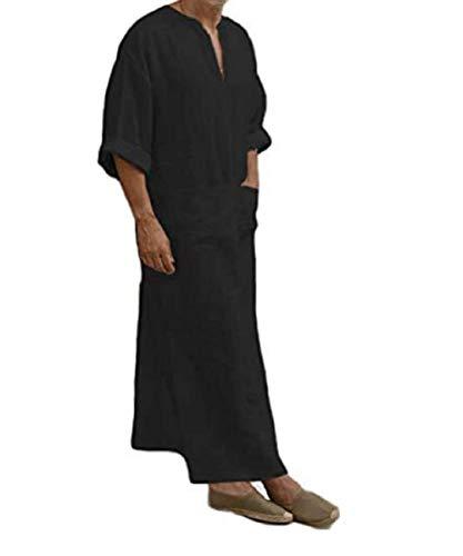PDYLZWZY Ethnische Roben Herren Baumwolle Leinen Kaftan Robes V-Ausschnitt Arab Nachtwäsche Mit Taschen Indian Muslim Herrenhemd Lange Bademäntel Morgenmäntel (schwarz, 2XL)
