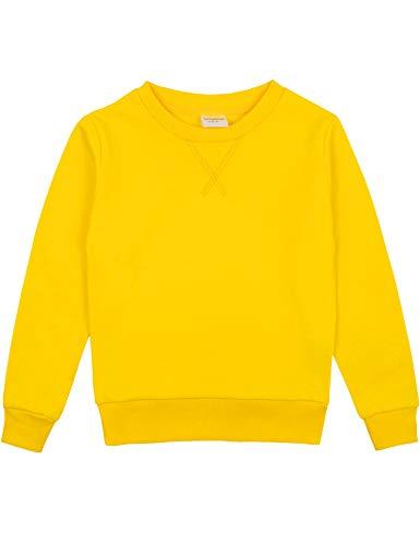Spring&Gege Youth Basic Sport Pullover Rundhalsausschnitt Sweatshirts für Jungen und Mädchen Gr. 9-10 Jahre, gelb