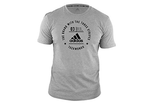 adidas T-Shirt Men Women Martial Arts Fitness Gym Workout Training Top Camiseta Taekwondo para Hombre, Mujer, Artes Marciales TKD, Gimnasio, Entrenamiento, Gris, S