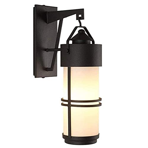 MKKM Lámpara de Pared Resistente Al Agua a Prueba de Herrumbre, Nostálgico Continental Aplique de Pared Focos de Pared con Acabado Mate Negro E27 Lámpara de Pared con Pantalla de Vidrio Edison para P