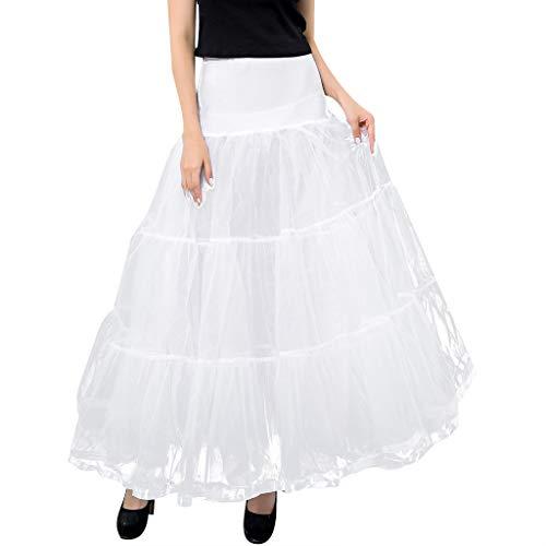 YGbuy Falda de Tul Mujer Una Línea Falda Larga Falda de Gasa Falda Larga Festiva Cóctel de Boda Falda Larga Princesa Color Sólido Vestido de Novia Cintura Alta Enagua Vintage