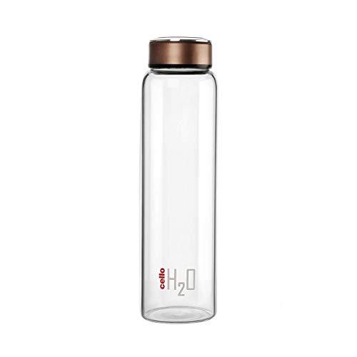 Cello H2O Borosilicate Glass Water Bottle, Clear, 1000 ml, Copper