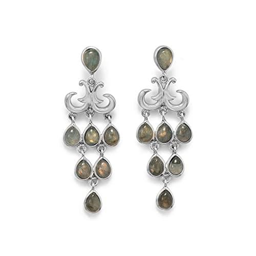 Pendientes de plata de ley 925 con forma de pera de labradorita chapado en rodio y poste de la espalda de piedra si joyas regalos para mujeres