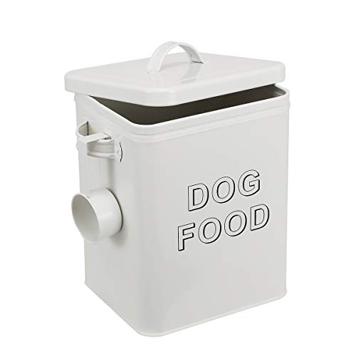dog food containers Pethiy airtight Dog Treat Container bin and Dog Food Storage Tin with Lid with Handle |4-5 lbs Capacity | Serving Scoop Included -White