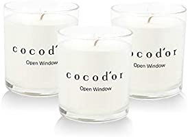 Cocod'or Premium Jar Scented Candles 3 Pack, Open Window, 30-40 Hour Extended Burn Time, Made In Italy