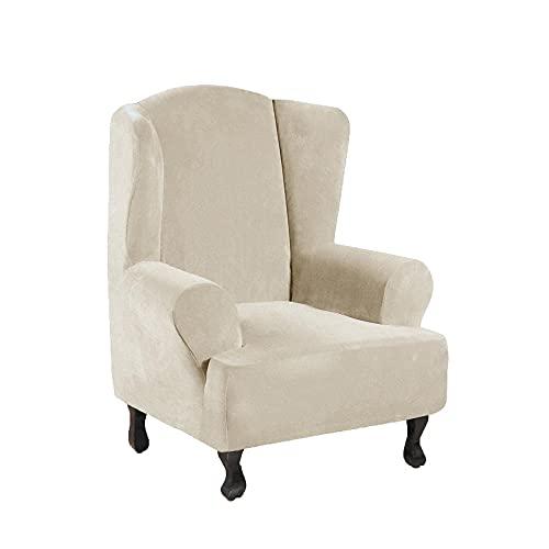 Zoyay Funda de sillón orejero elástica con Orejas Fundas sillón Relax Protector de Muebles Reclinable Fundas Sofa Terciopelo para Butacas 1 Plaza Sala Hotel-Blanco Crema