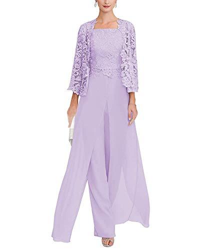 tutu.vivi Women's 3 Pieces Lace Mother of The Bride Dresses Chiffon Pant Suits with Long Sleeves Jacket 2019 Lavender Size18W