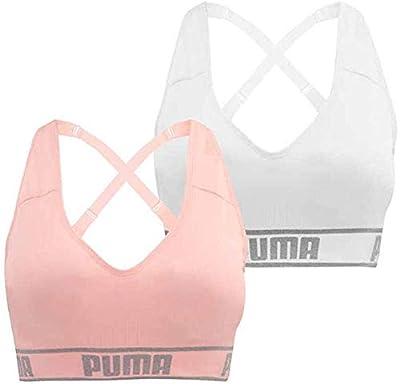 PUMA 2 Pack Medium Impact Seamless Sports Bra, White/Peach (Size: S)