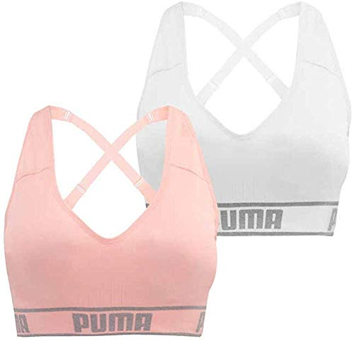 PUMA Women's Seamless Sports Bra Removable Cups - Adjustable Straps Moisture Wicking (2 Pack) (L, White-Pink)