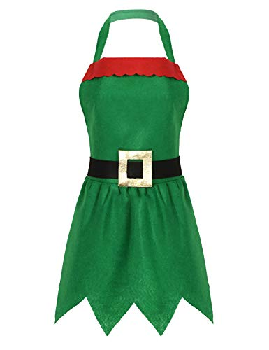 YiZYiF Grembiule da da Elfo Natale Donna Costume da Elfo Vestito Natalizio Costume Babbo Natale Grembiuli da Cucina Cuoco Cottura per Adulti Festa Fancy Cosplay Carnevale Verde Taglia unica