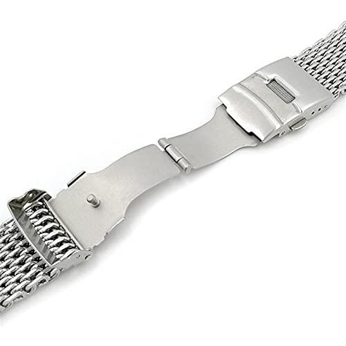 chenghuax Correa de acero inoxidable de 18 mm/20 mm/22 mm/24 mm, malla de tiburón, correa de malla de metal para reloj (color de la correa: plata, ancho de la correa: 24 mm)