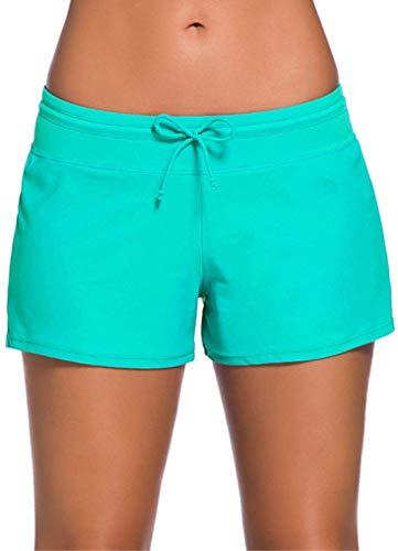 Ocean Plus Damen Unifarben Badeshorts mit Verstellbarem Tunnelzug Wassersport UV-Schutz Bikinihose Boardshorts Hotpants (S (EU 34-36), Grün)