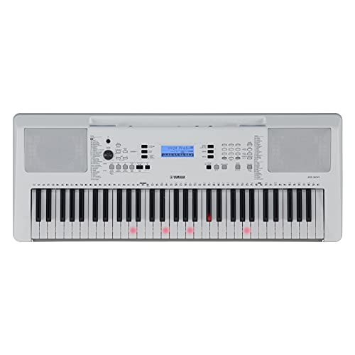 Yamaha EZ-300 Digital Keyboard, weiß – Portables Lern-Keyboard mit USB-to-Host-Anschluss – Keyboard mit 61 anschlagdynamischen Leuchttasten