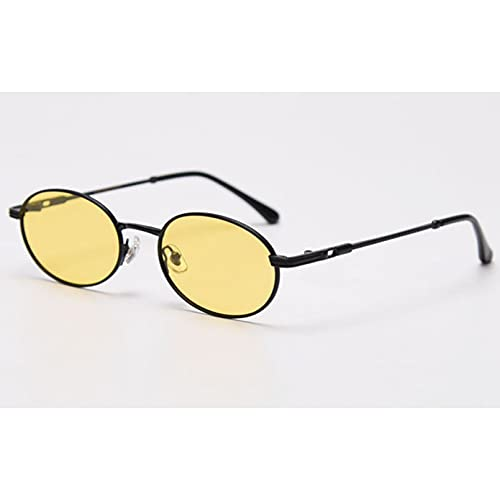 Tanxianlu Gafas ovaladas Retro para Hombre, polarizadas Uv400, Gafas de Sol pequeñas Doradas Mujer, Metal, Amarillo, Rojo, Superventas,F