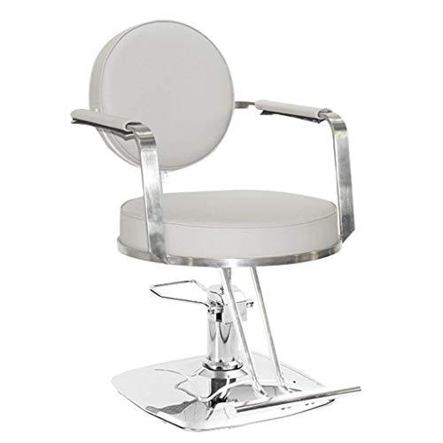 Preisvergleich Produktbild CRRQQ Salon Stuhl,  Hydraulic Frisierstuhl PU-Leder Friseur Salon Stuhl Hydraulic Lift Platz Basisfriseurfriseurstuhl SPA Salon Schönheit Ausrüstung Frisierstuhl (Color : Rice White - Round)