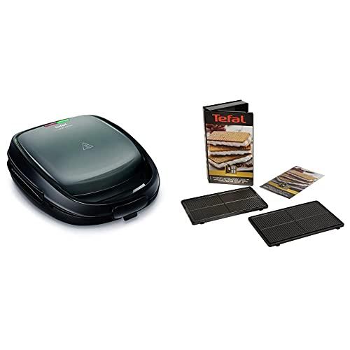 Tefal sw341b Snack Time avec appareil multifonctionnel comprenant 2 ensembles de plaques, 700 W, gris / noir & Coffret Snack Collection de 2 plaques gaufrettes + livre de recettes