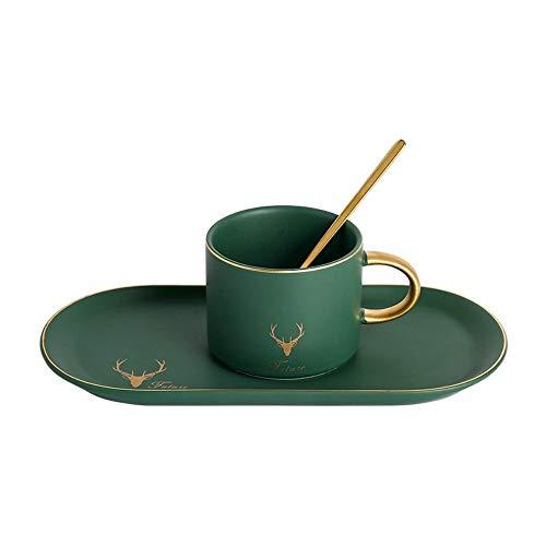 donfhfey827 Europäische Keramik Kaffeetasse und Untertasse Set kleine Nachmittagstee Teetasse einfache Mark Tasse Löffel dreiteiliges Set