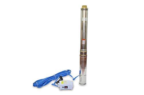 Grandmaster - Bomba De Agua Sumergible Para Pozo, 1100W/1.5HP, 10.5m3/h, Acero Inoxidable, Profundidad Máxima 66m, Cable Eléctrico 22m, 2850RPM, IP68, Bomba Eléctrica 2', 16 Impulsores